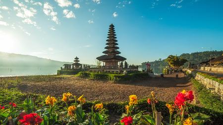 ulun: Beautiful Pura Ulun Danu temple on lake brataan bali indonesia in the morning. Stock Photo