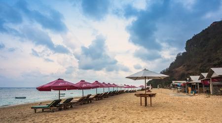 parasols: Parasols on empty beach in Bali, Indonesia