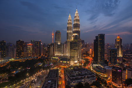 highway night: Kuala Lumpur Twin Towers at Night, high angle view Editorial