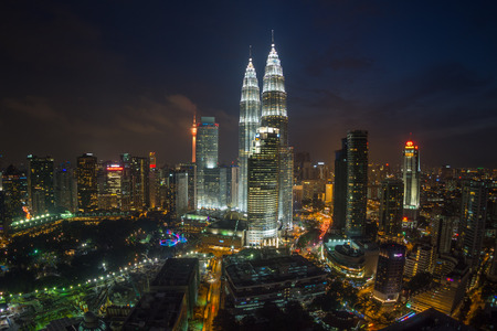 skyline at sunrise: Kuala Lumpur Twin Towers at Night, high angle view Editorial