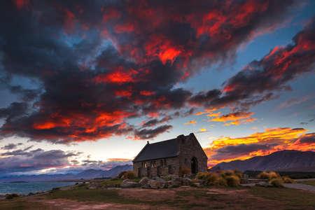 good shepherd: Red Sky at Church of the Good Shepherd Stock Photo