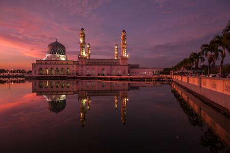 likas: A mosque at sunset - Likas Mosque, Kota Kinabalu