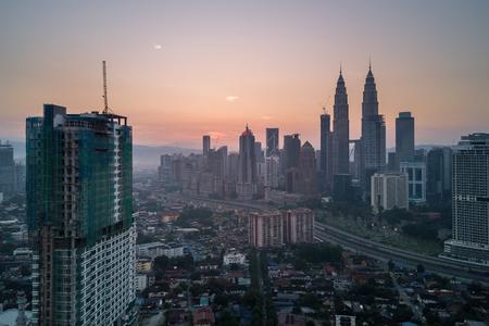 Aerial Photo - Sunrise at the city of Kuala Lumpur