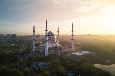 Aerial Photo - A mosque at sunrise.