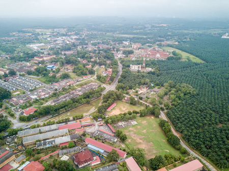 Aerial Photo - Palm Oil Plantation and rooftop of houses. A small town of Jasin, Malacca some 100km away from Kuala Lumpur, Malaysia 스톡 콘텐츠