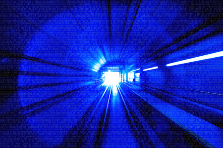 Motion Blur Abstract - in an underground tunnel heading towards a light. Blue Colour