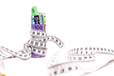 Measuring Tape tightening Malaysia Ringgit Banknotes. Saving cost concept. White Background. Shallow depth of field