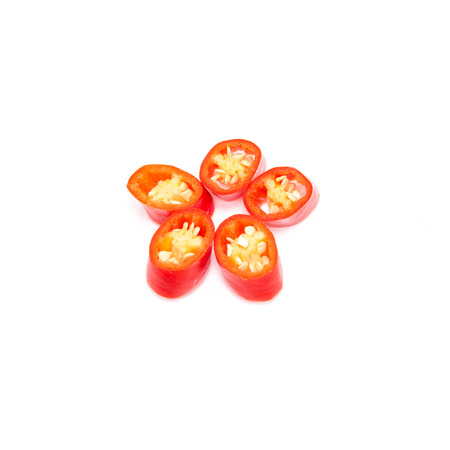 Isolated White Backround - Red Chilis. Flower patttern. Shallow depth of field Stock Photo