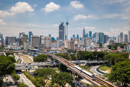 Aerial Photo - Kuala Lumpur City and Blue Sky. A train on an elevated track visible, the LRT.
