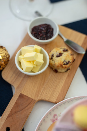 Dessert - Scones on dessert table. Shallow depth of field