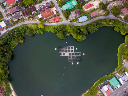 Aerial photo - Lake in the middle of residential area.