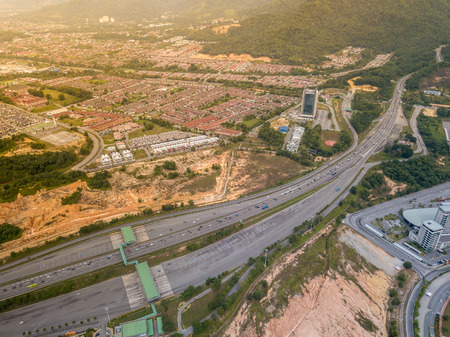 Aerial Photo - Busy Highway cutting through the town of Ipoh, Malaysia