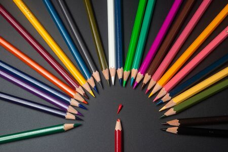 Support Group, Intervention - Still Life Conceptual - Color Pencils on isolated backround, Support Group, Intervention - Still Life Conceptual - Color Pencils on isolated backround, shallow depth of field Stok Fotoğraf