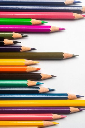 Diversity concept.  Colored Pencils on isolated white backround Stockfoto