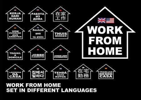 Work From Home in Multiple Language Vecteurs