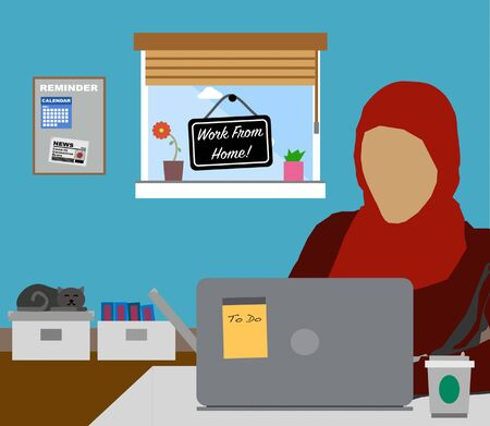 Work From Home. Female Muslim wearing Hijab working at home. Covid-19 Coronavirus Freelance Concept. Çizim