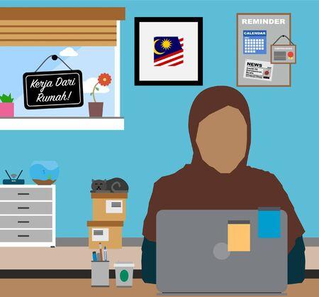 Work From Home. Female Muslim wearing Hijab working at home. Covid-19 Coronavirus Freelance Concept.