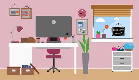 Travail à partir de l'intérieur du bureau à domicile. Concept de coronavirus covid-19. Vecteur plat Vecteurs