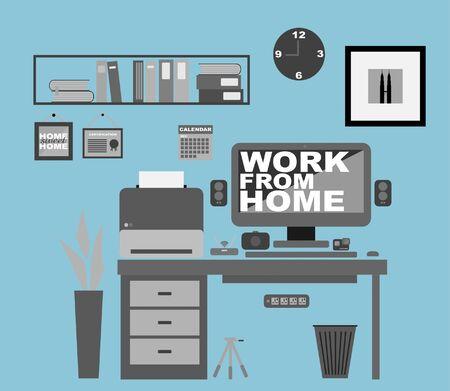 Work From Home Office Interior. Covid-19 Coronavirus Concept. Flat Vector Ilustración de vector