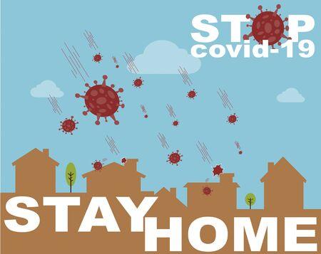 Stay Home Covid-19 Coronavirus Concept. Humanity versus Coronavirus. Vettoriali