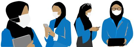 Muslim Businesswoman with a Hijab wearing surgical mask. Covid-19 Coronavirus concept.