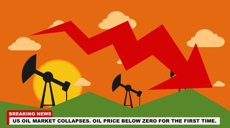 US Oil Crisis - Oil Rigs at sunset. Breaking news concept