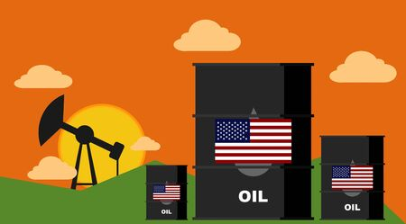 US Oil Crisis - Barrels and Sunset.