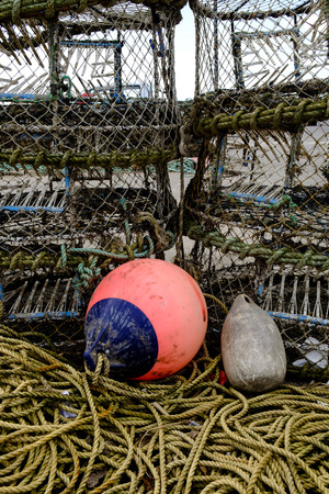 fishing floats: Fishing floats lobster pots and rope Stock Photo