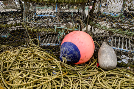 floats: Fishing floats lobster pots and rope Stock Photo