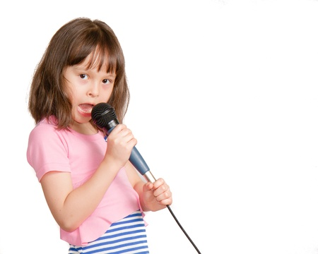 Asian child with microphone photo