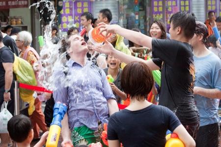 People celebrating Songkran in Taiwan