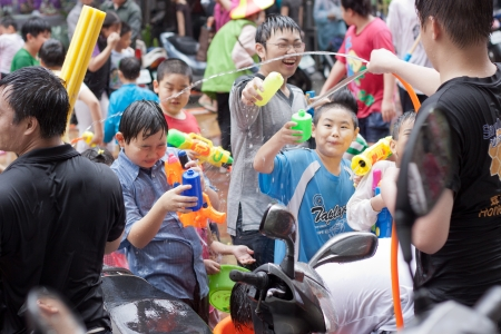 People celebrating Songkran in Taiwan