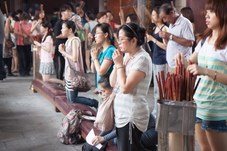 People at a temple in Taiwan