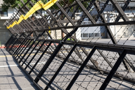 Riot barriers in street photo
