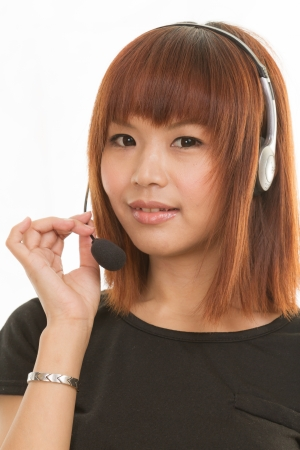 Asian female wearing a headset with microphone photo