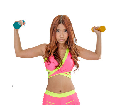 Chinese female working out with weights on isolated white photo