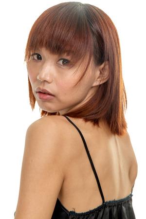 taiwanese: Taiwanese chinese female wearing lingerie, isolated white Stock Photo