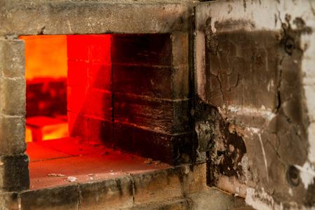 kiln: Ceramic Pottery Kiln Firing with cermaics inside