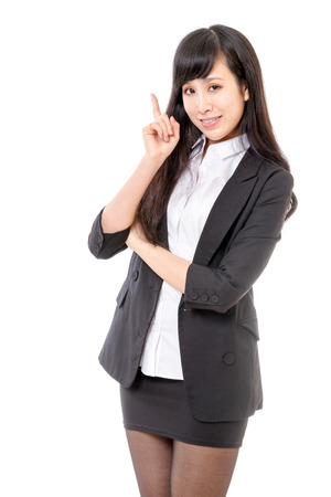 Asian female professional against isolated white background photo