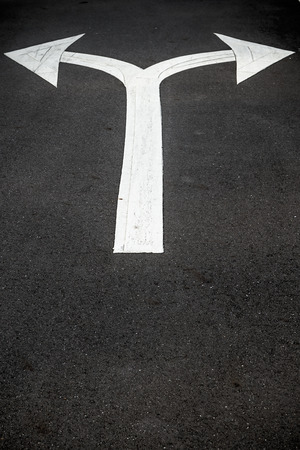 Road sign arrow on street surface pointing two ways; concept for choice or choosing Stock Photo