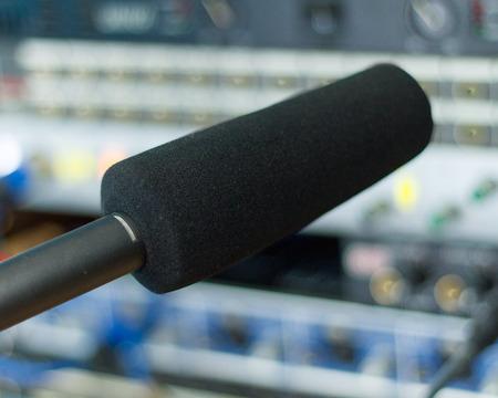 Recoring audio production equipment at a recording studio, close-up