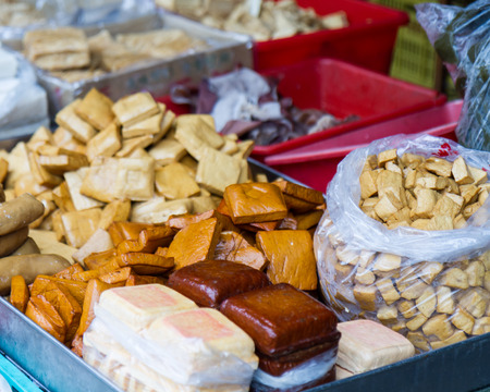 Various kinds of tofu at a traditional market in Taiwan
