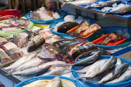 fish vendor: Raw fish at vendor in traditional market, Taipei, Taiwan