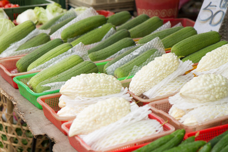 balsam: Balsam pear and towel gourd at traditional market in Taipei, Taiwan