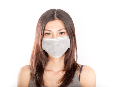Chinese woman wearing surgical mask with white background Stock Photo
