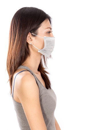 side  profile: Chinese woman wearing surgical mask with white background, side profile