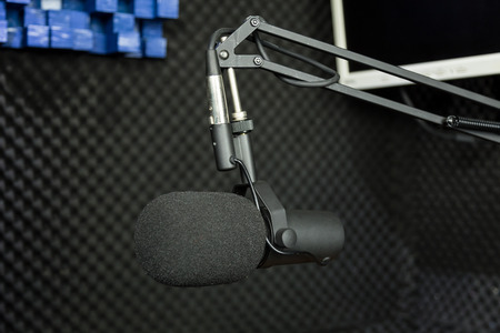 Professional dynamic microphone in recording studio Stock Photo