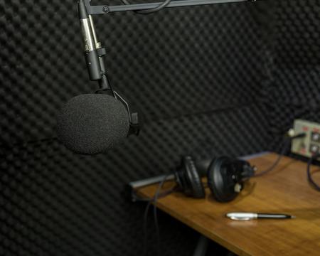 Professional dynamic microphone in recording studio Foto de archivo