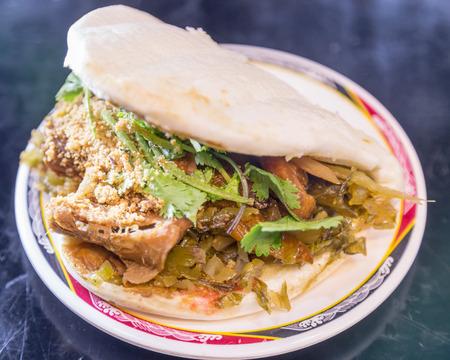 bao: Traditional Taiwanese guo bao meat on a bun dish