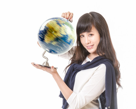Chinese female with spinning globe of planet earth in her hands photo